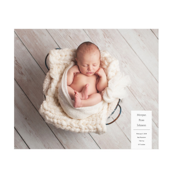 Single Image Baby Announcement with Minimal White Box Text Canvas Print, 24x20