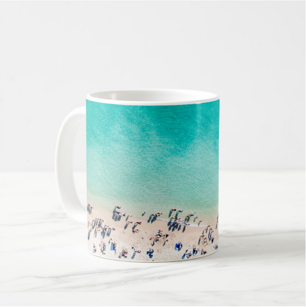 aqua blue beach scene with people on basic white mug 11oz