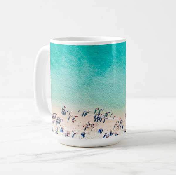 aqua blue beach scene with people on basic white mug 15oz