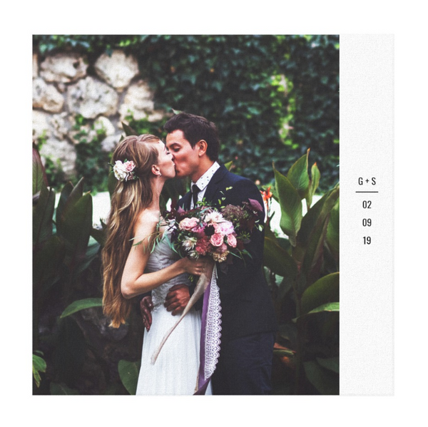 Single wedding image photo with initials and date on canvas print