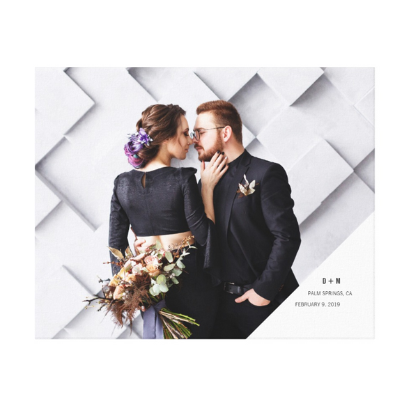 Single Photo Image with White Corner Text Wrapped Canvas Print