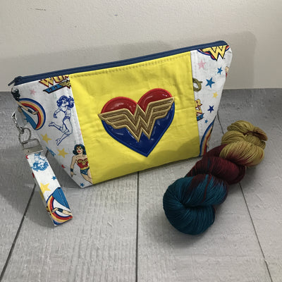 Retro Wonder Woman Knitting Project Bag