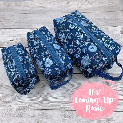 Blue Floral Batik Box Pouches - IN STOCK!