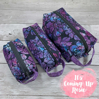 Black & Purple Floral Batik Box Pouches - IN STOCK!