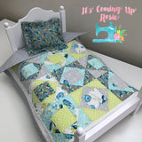 "Doll Quilt & Pillow 2-Pc Set - ""Charlotte"" Layout"
