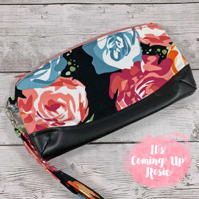 Black, Coral, & Blue Floral Clematis Wristlet - IN STOCK!
