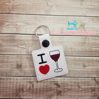 I Heart Wine Keychain