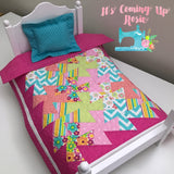 "Doll Quilt & Pillow 2-Pc Set - ""Daisy"" Layout Pink"