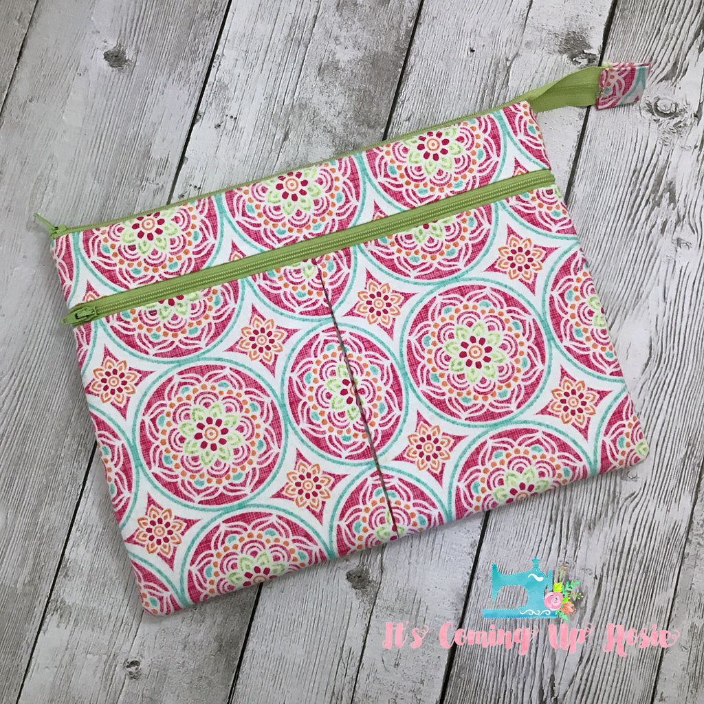 iPad/Tablet Case - Pink & Green Mandalas - IN STOCK!