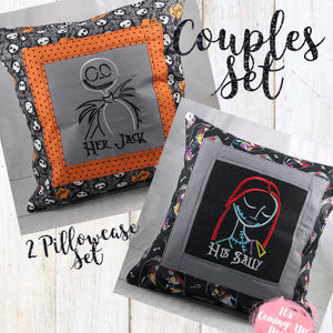 """Her Jack"" & ""His Sally"" Nightmare Before Christmas Pillow Case Set"