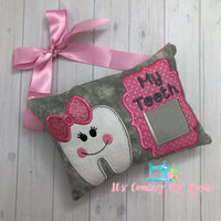 Girl with Bow Tooth Fairy Pillow - One of A Kind