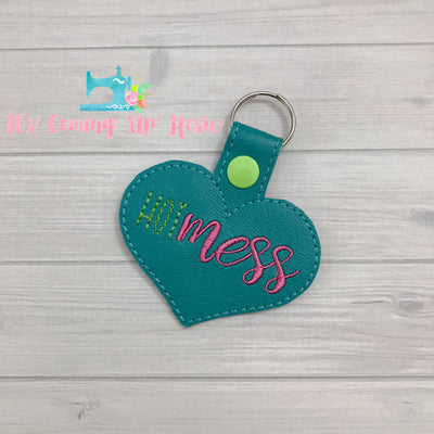 Hot Mess Heart Keychain