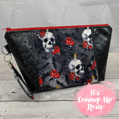 Gothic Skull & Rose Zipper Bag - IN STOCK!