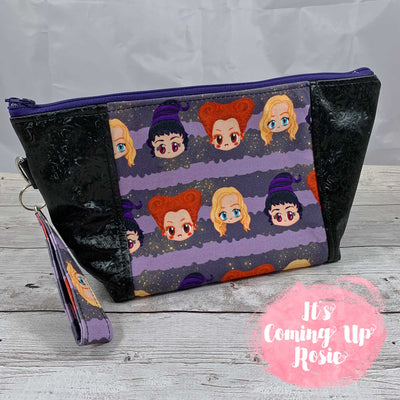 Hocus Pocus Purple Character Stripe Zipper Bag