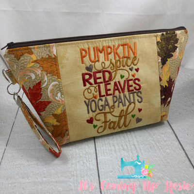 Pumpkin Red Leaves Yoga Pants Fall Zipper Bag