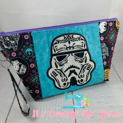 Star Wars Stormtrooper Sugar Skull Zipper Bag - Blue