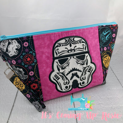 Star Wars Stormtrooper Sugar Skull Zipper Bag - Pink