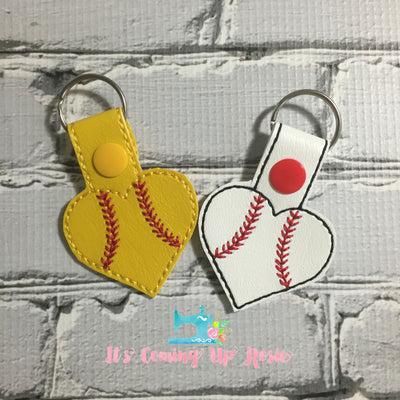 Baseball/Softball Heart Keychain