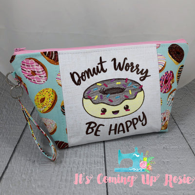 Donut Worry Be Happy Zipper Bag