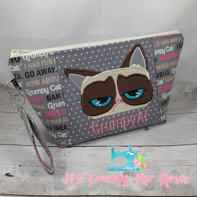 Grumpy Kitty Zipper Bag - PREORDER