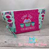* MATURE* Teal Cupcakes Zipper Bag - PREORDER
