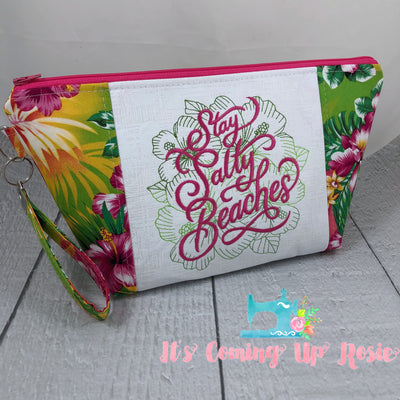 Stay Salty Beaches Floral Zipper Bag - PREORDER