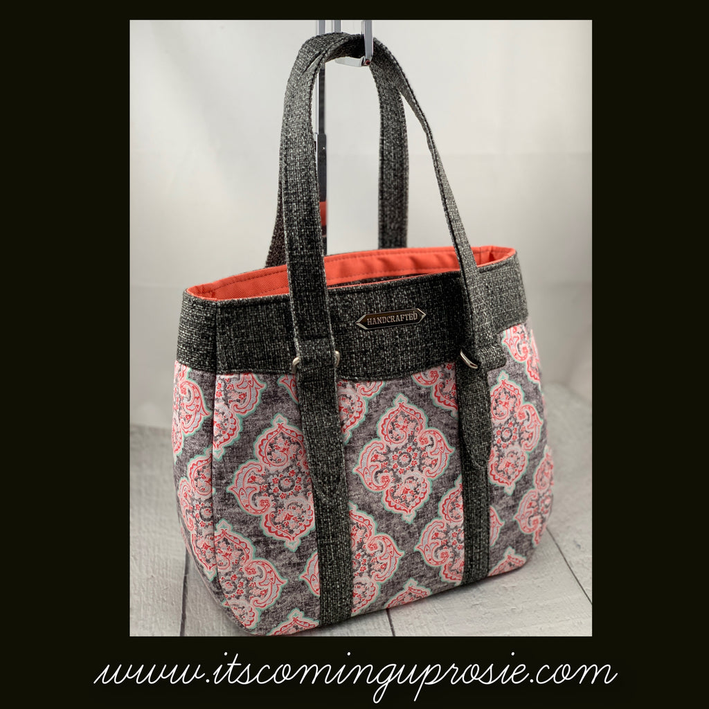 Coral & Gray Medium Handbag - IN STOCK!