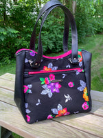 Black Floral Medium Handbag