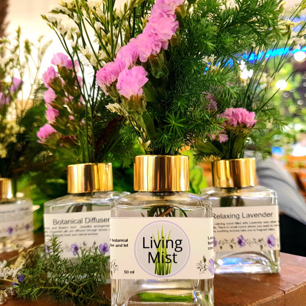 Lavender Living Mist Botanical Diffuser: Essential Oil Air Freshener with Real Flowers,Square or Round Bottle (50 ml) Homegrown Organics (The Home of Purple Corn) : No Minimum Order