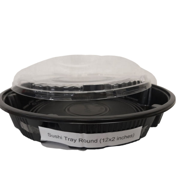 Sushi Tray Round Packaging,12x2inches,Black (per piece) Homegrown: Fresh Food, Groceries, Plants and More!