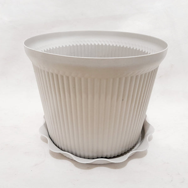 Pot with Plate,White, Plastic,10 Inches Diameter (per piece) Homegrown: Fresh Food, Groceries, Plants and More!