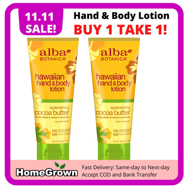 11.11 SALE! Buy 1 Take 1 Alba Botanica Cocoa Butter Hawaiian Hand & Body Lotion (2 x196g Bottles) Homegrown: Fresh Food, Groceries, Plants and More!