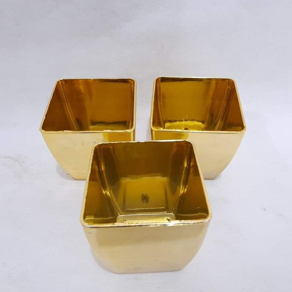 Succulent Gold Pot, Plastic Square, 3in dia x 3.5in ht, gold (per piece) Homegrown Door-to-Door Fresh from the Farm Delivery