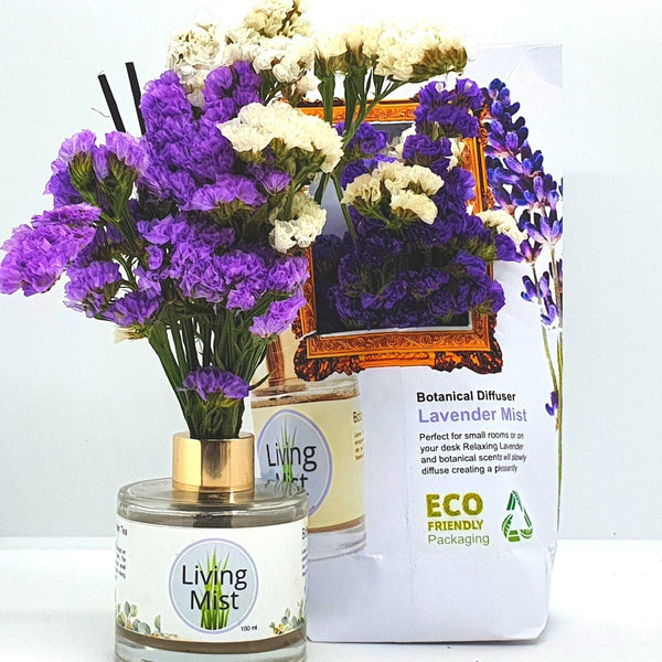 Lavender Living Mist Botanical Diffuser: Essential Oil Air Freshener with Real Flowers,Round or Hexagonal Bottle (100 ml)