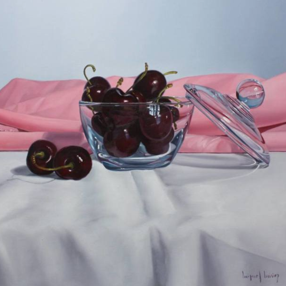 Cherries With Pink Cloth, Miguel Angel Nuñez - A Life With Art