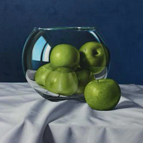 Green Apples on Blue Background, Miguel Angel Nuñez - A Life With Art