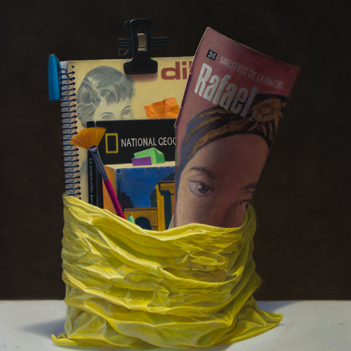 Yellow Bag with Magazines