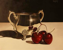 Still life with Three Cherries