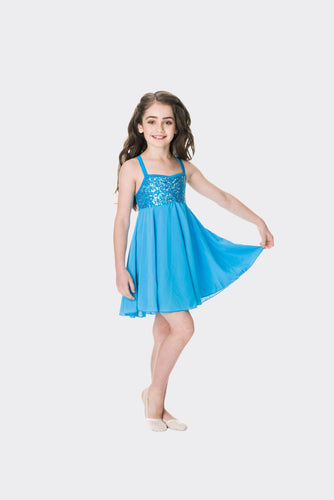 Studio 7 Sequin Lyrical Dress Child - Turquoise
