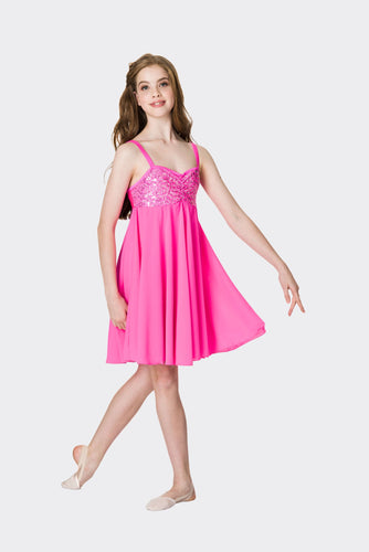 Studio 7 Sequin Lyrical Dress Child - Hot Pink