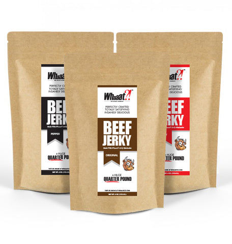 Beef Jerky - 12oz Snack Pack - Resealable Bags - Original, Spicy, and Pepper Flavors