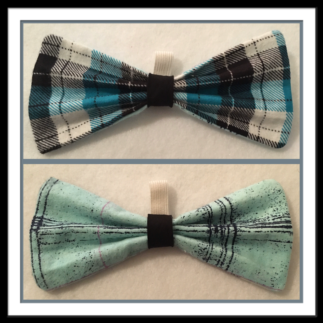 Teal & Flannel Bow Tie