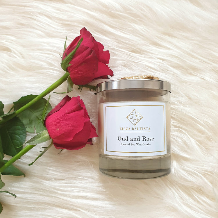 Oud and Rose Soy Wax Candle - Eliza Bautista