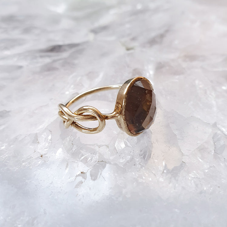 Smoky Quartz Infinity Ring in Gold Vermeil