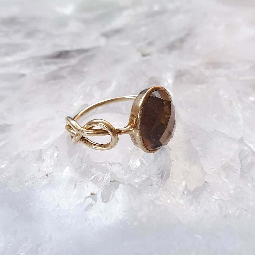 Smoky Quartz Infinity Ring in Gold Vermeil - Eliza Bautista