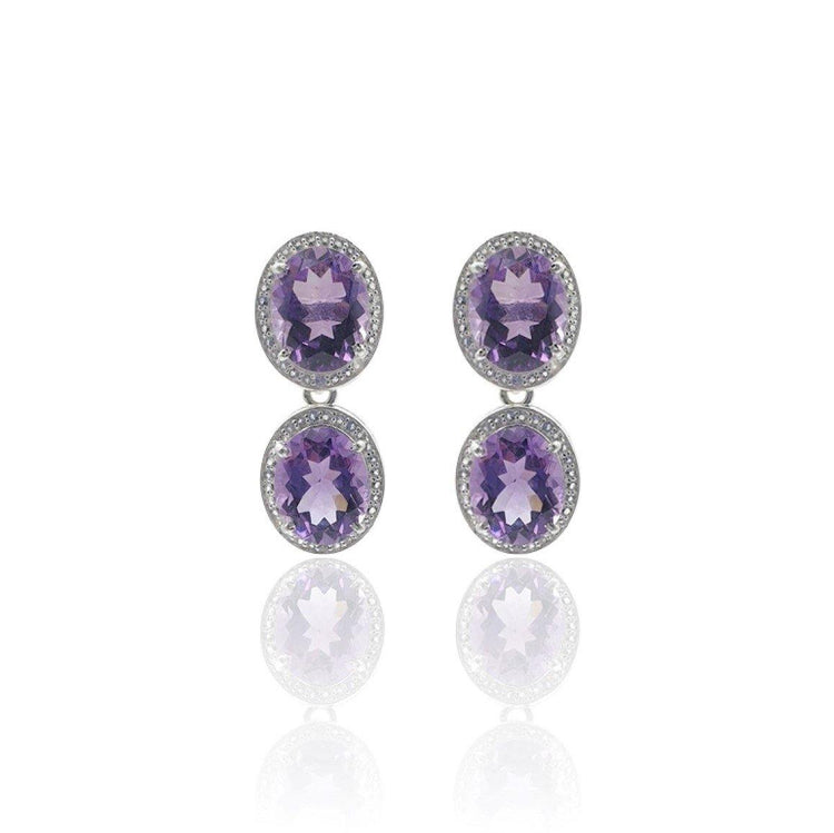 Style Your Own: Oval Amethyst Earrings in Sterling Silver
