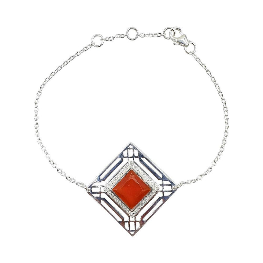 Marlene Art Deco Bracelet with Red Onyx in Sterling Silver - Eliza Bautista