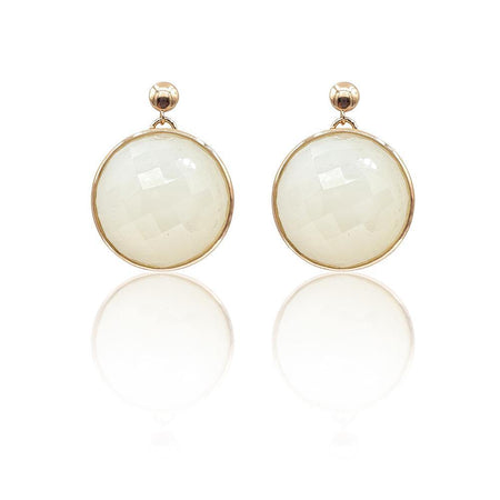 Eclipse: White Onyx Earrings in 18k Rose Gold Vermeil on Sterling Silver - Eliza Bautista