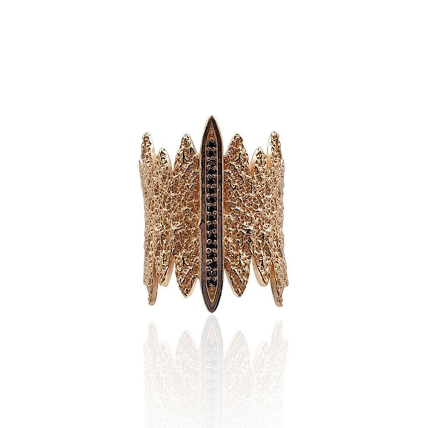 Tallulah Art Deco Ring with Black Spinel in 18k Rose Gold Vermeil (Textured)