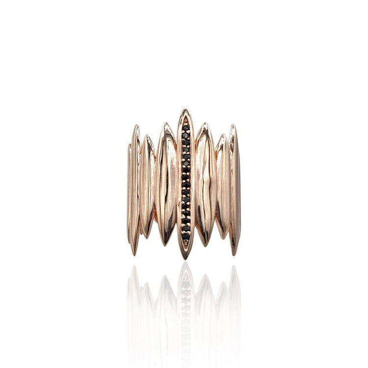 Tallulah Art Deco Ring with Black Spinel in 18k Rose Gold Vermeil
